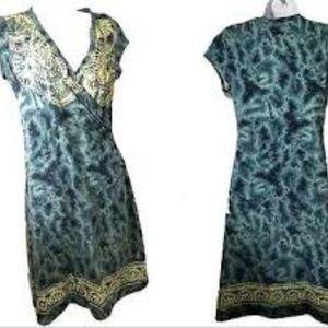Athleta Tattooed Surplice Faux Wrap Dress size SP